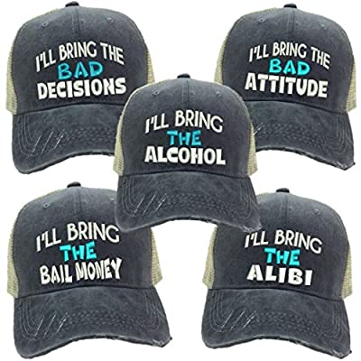 "Adult Custom Distressed Funny Trucker Hat""I'll Bring The Alcohol/Bad Decisions"" Embroidered Ball Cap (Bad Decisions - Turquoise)"