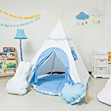 Teepee,Decorative Blue Accessories and Carpet, Washable Cotton Canvas Shack, Theater Play Tent