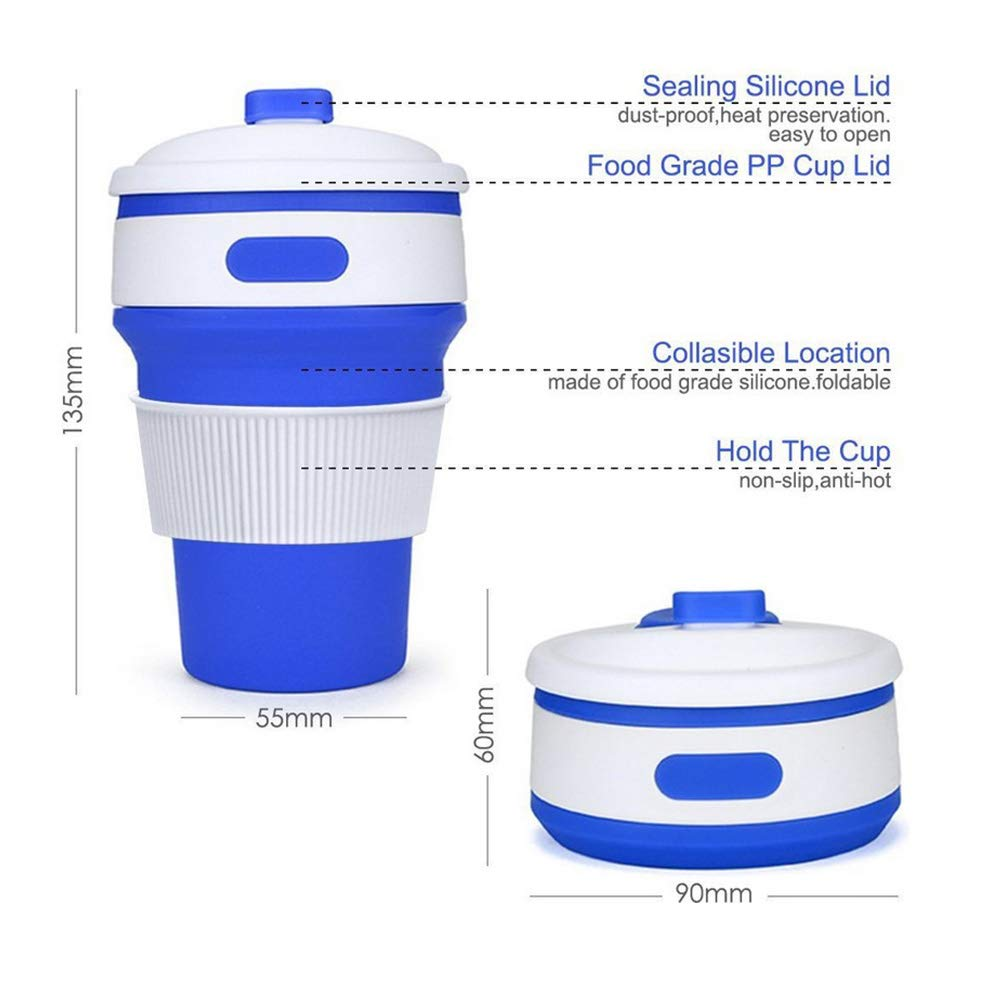 Spubote Silicone Coffee Cup Collapsible Coffee Cup Silicone Collapsible Cup with Lid Portable /& Lightweight Travel Cup for Outdoor Camping Hiking.