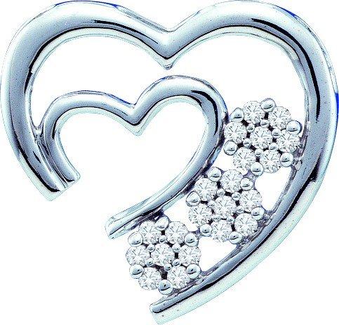 10K Or Blanc 0,07DWT Rough Diamant Pendentif Coeur-Or de qualité plus élevé que or 9carats