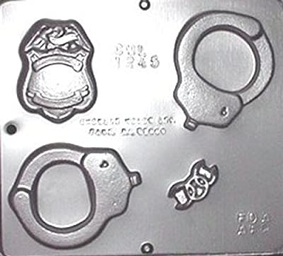 Police Assortment Hand Cuffs & Badge Chocolate Candy Mold 1245