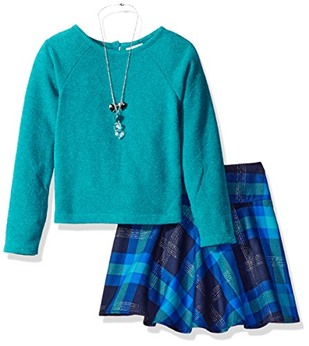 Youngland Little Girls' Sweater Knit Top with Woven Plaid Skirt and Removable Heart Necklace, Teal/Multi, (Hearts Skirt Sweater)