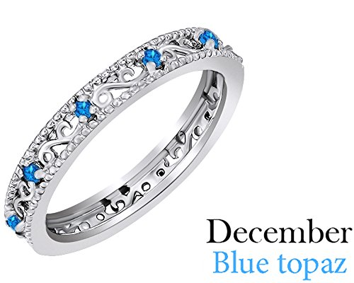Jewel Zone US Mothers Day Jewelry Gifts Round Cut Simulated Blue Topaz Stackable Ring in 14K White Gold Over Sterling Silver