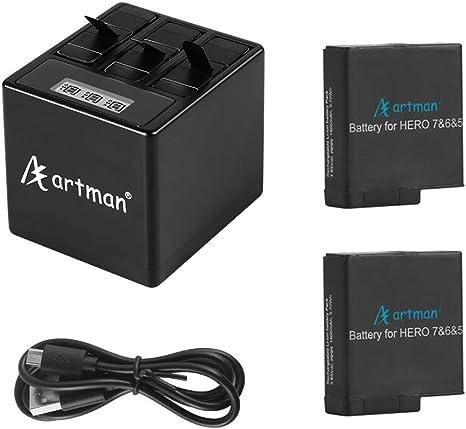 Baterías de Repuesto Artman GoPro Hero 5/6/7 1500mah (Paquete de 2) y Cargador USB