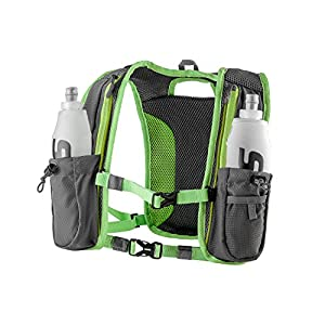 SLS3 Running Hydration Vest | Backpack | 2 Bottles | Adjustable Strap System | Extra Storage Pockets (Lime 2x 17 oz soft flask)