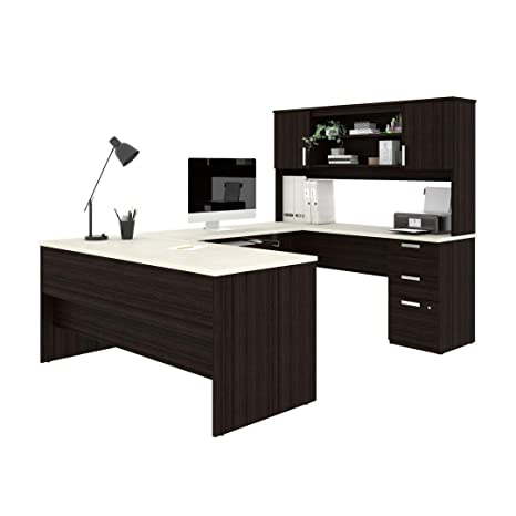 Incredible Bestar U Shaped Desk With Pedestal And Hutch Ridgeley Download Free Architecture Designs Scobabritishbridgeorg