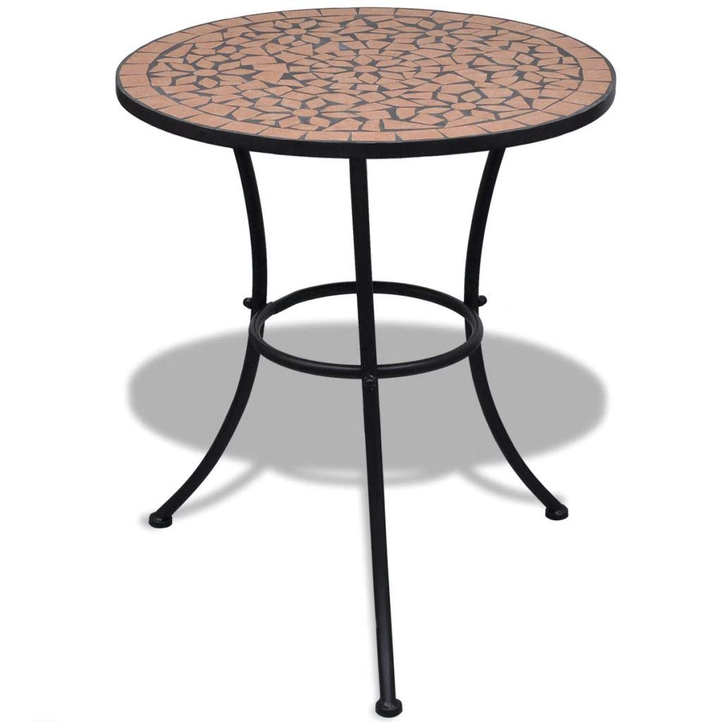 Tidyard Mosaic Round Patio Bar Table, Outdoor Indoor Side Accent Table 23.6'' Terracotta