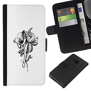 A-type (Octopus White Kraken Monster) Colorida Impresión Funda Cuero Monedero Caja Bolsa Cubierta Caja Piel Card Slots Para HTC One M9