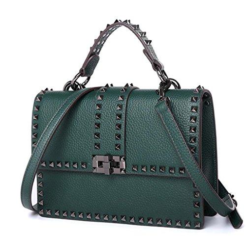 Mesdames cloutés rivets sac à main en cuir épaule délicate diagonale fourre-tout Green-large