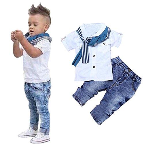 [Misaky Kids Boys Short Sleeve T-Shirt Tops+Scarf+Trousers Clothes Set (85CM(Age:2T), White)] (Denim Romper Costume)