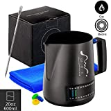 Milk Frothing Pitcher With Integrated Thermometer, 20oz/600ml Stainless Steel Non-Stick Teflon Milk Coffee Cappuccino Latte Art Barista Pitcher Milk Jug Cup, With Decorating Art Pen & Microfiber Cloth