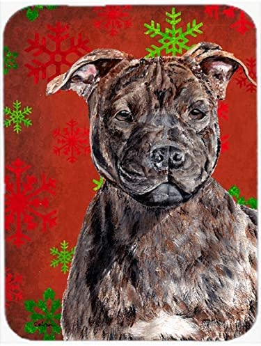 Caroline's Treasures SC9753MP Staffordshire Bull Terrier Staffie Red Snowflakes Holiday Mouse Pad, Hot Pad or Trivet, Large, Multicolor [並行輸入品]