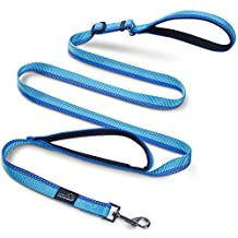Double Handle Dog Leash, PETBABA Adjustable 6ft Long Dog Leash Reflective with Traffic Handle for Dogs in Blue