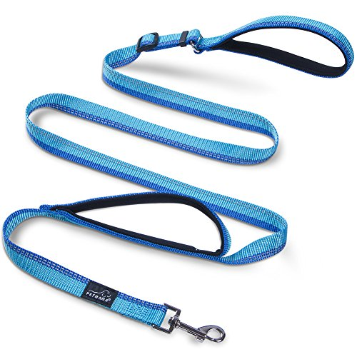 PETBABA No Pull Dog Leash, 6ft Adjustable Lead Double Handle, Reflective Gear Safe at Night Walk, Short Knob Soft Padded to Protetct Hands When Controlling Pet in Traffic in Blue