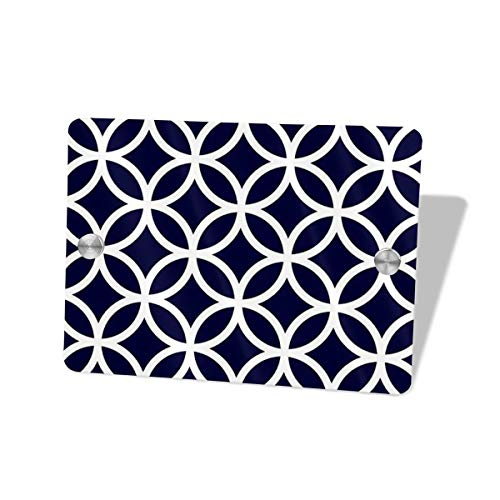 Hucuery Commission Navy Blue Circle Pattern 5.57.5 in Square Doorplate£¬Square House Decoration, Custom Personality Slogan, Office Meeting Sign