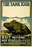 "WA18 Vintage WWI British National War Bonds Tank Tour Scottish War Poster WW1 Re-Print - A4 (297 x 210mm) 11.7"" x 8.3"""