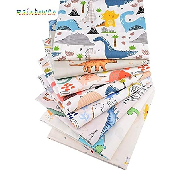 Amazon Com 8pcs 15 7x19 7 Inch Cute Dinosaur Cotton Fabric For Sewing Pack Of 8 Cotton Dinosaur Fabric For Quilting Cartoon Cotton Fabric For Diy Craft Colored Cotton Fabric For Sewing Solid Color Cotton Fabric