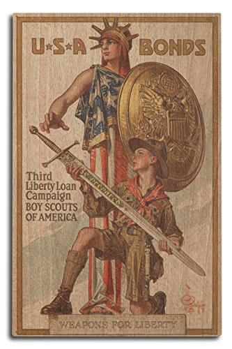 Lantern Press USA - Third Liberty Loan Campaign - Boy Scouts of America - (Artist: Leyendecker c. 1918) - Vintage Propaganda (10x15 Wood Wall Sign, Wall Decor Ready to Hang)