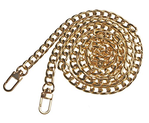 Penta Angel 47'' Iron Flat Purse Chain Strap Replacement Gold Plated Metal Bag Chains Accessories with Buckles for DIY Wallet Handbag Clutch Satchel Tote Shoulder Cross Body Bag