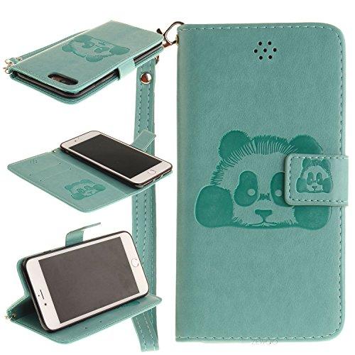 Für Apple iPhone 7 Plus (5,5 Zoll) Tasche ZeWoo® Ledertasche Kunstleder Brieftasche Hülle PU Leder Schutzhülle Case Cover - TX024 / Panda (grün)
