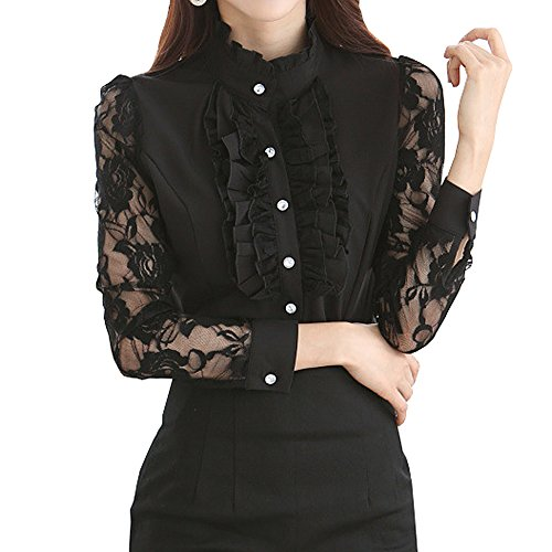 Y&Z Vintage Shirts Stand-Up Collar Lotus Ruffle Lace Long Sleeve BS14 (XS, - Lotus Black Clothing