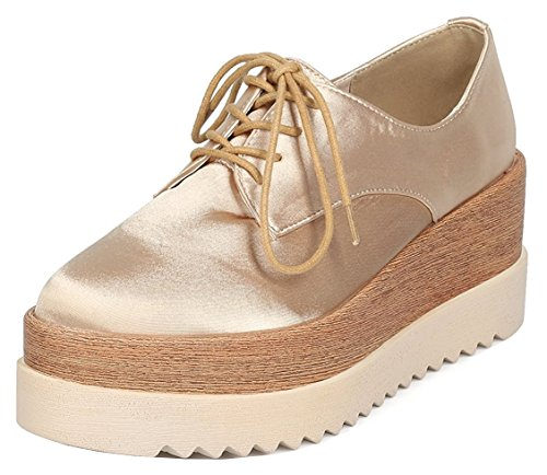 Lace Up Wingtip (DBDK Women's Lace-Up Round Toe Wingtip Oxford Wooden Platform Creeper (7.5 B(M) US, Gold))