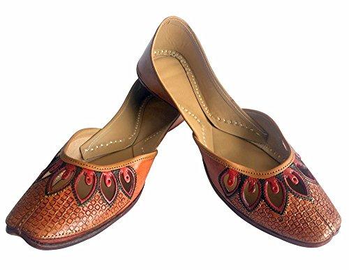 Étape N Style Traditionnel Bollywood Flipflop Cousu À La Main Mojari Jutti Bronze