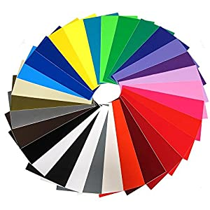 """Vinyl Ease 12"""" x 12"""" 30 Sheets Assorted Glossy Colors Permanent Adhesive Vinyl for Cricut, Silhouette, Pazzles, Craft ROBO, QuicKutz, Craft Cutters, Die Cutters, Sign Plotters - V0101"""