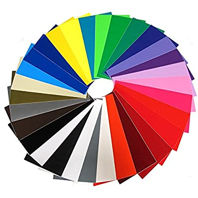 "Vinyl Ease 12"" x 12"" 30 Sheets Assorted Glossy Colors Permanent Adhesive Vinyl for Cricut, Silhouette, Pazzles, Craft ROBO, QuicKutz, Craft Cutters, Die Cutters, Sign Plotters - V0101"