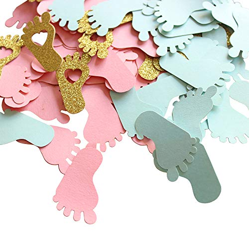 Footprint Baby Shower Confetti for Gender Reveal Party Table Decorations Candy Favor Box/Bag DIY Supplies 250CT