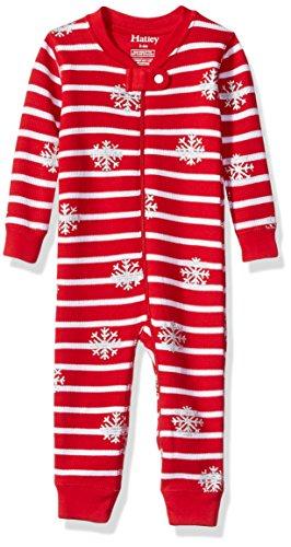 Hatley Baby Girls' Organic Cotton Waffle Sleepers, Candy Cane, (Candy Cane Pajamas)