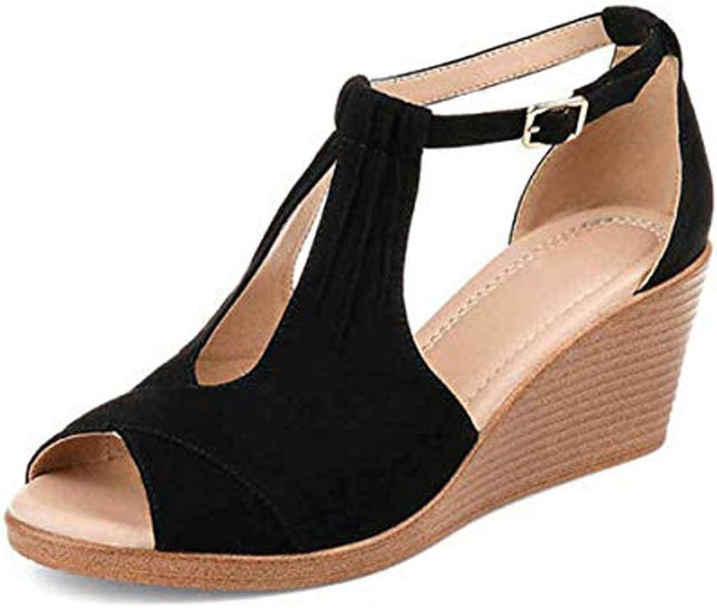 Minetom Womens Sandals Comfort-Sole Ankle-Strap Center-Cut Wedges Buckles Gladiator Women Mid Heel Sandals Ladies Summer Peep Toe Women Shoes 514FQBgOLiL