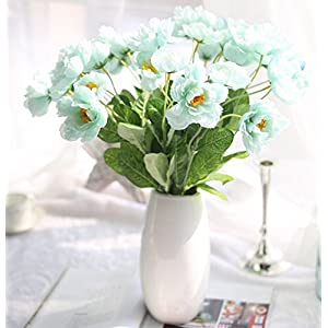 Skyseen 12 Bouquets 2 Heads Artificial Rosemary Poppy Flowers for Home Wedding Party Decor,Blue 13