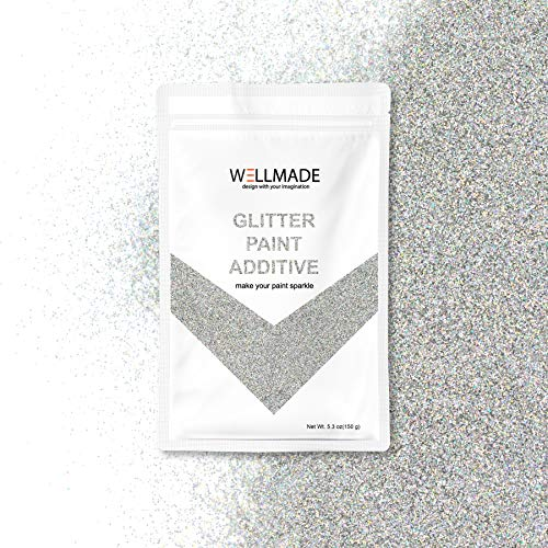 Wellmade Glitter Paint Additive for Wall Paint-Interior/Exterior Wall, Ceiling, Wood, Metal, Varnish, Dead Flat, DIY Art and Craft 150g/5.3oz (150g/1bag, Silver -