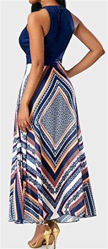 Sleeveless Rise Dress Navy JSYAU blue Printed High Beach Chiffon Womens Swing Pleated z7qCf0