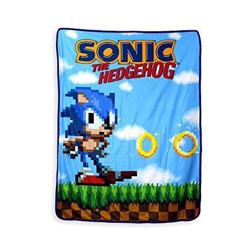 JUST FUNKY Official Sonic The Hedgehog, Polar Fleece, Soft Plush Travel Blanket/Throw, 45 X 60 -