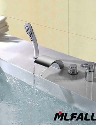 Ling@ Basin mixer Mlfalls New Arrival Deck Mount Four Holes Widespread Bathtub Waterfall Faucet with Hand Shower ()