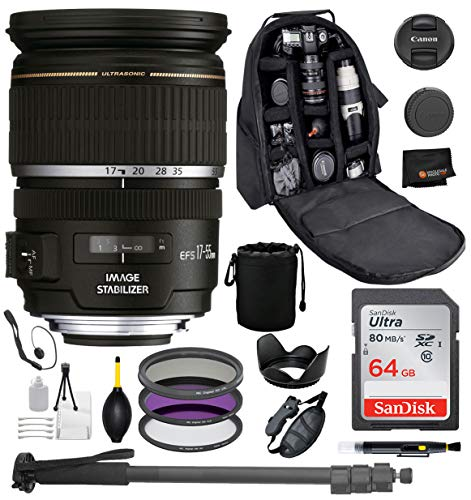 Canon EF-S 17-55mm f/2.8 is USM Lens with Professional Bundle Package Deal Kit Includes San Disk 64gb SD Card + 3pc Filter Kit (UV, CPL, FLD) + 72″ Monopod + More