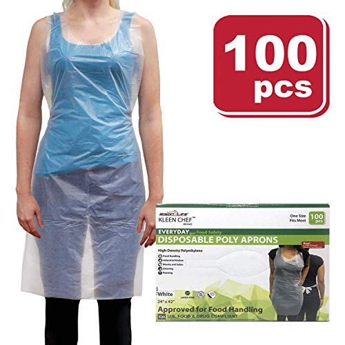 KLEEN CHEF Disposable Food Handling Light Poly Aprons - One Size Fits Most, 100 per box (1 box), White ()