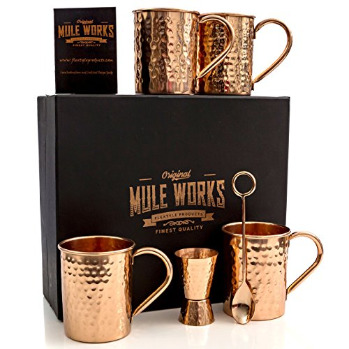 Mule Works by Flextyle Products - Moscow Mule Mugs Copper 4 Mug Gift Set. 16 oz Capacity 100% Pure Copper Hammered Finish with Copper Jigger and Copper Stirring Spoon - Beautiful Gift Box Included