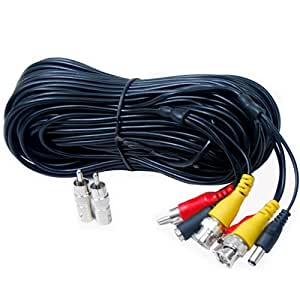VideoSecu AV Video Audio & Power 100 Feet Pre-made All-in-One BNC Cable for CCTV Video Security Surveillance Camera with 2 RCA Male to BNC Female Connectors 3JG