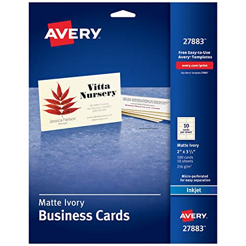Avery Printable Business Cards, Inkjet Printers, 100 Cards, 2 x 3.5, Ivory (27883) ()