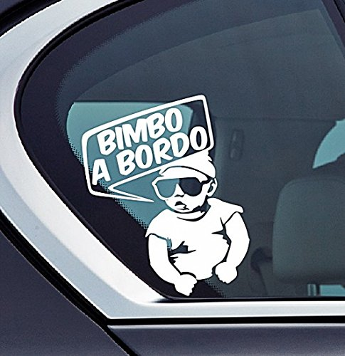 Bimbo a Bordo - Adesivo per auto, Bambino, Baby On Board, Kids Car sticker drift bumper window car funny vinyl Van Love Heart decor Home Live Kids funny wall art decal BSE