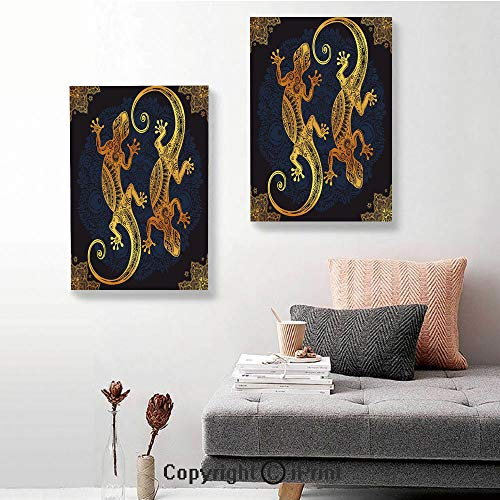 Canvas murals,Artistic Gecko Lizard Figures Boho Framework Tropical Henna Tattoo Style,24