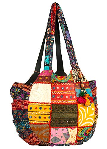 Tribe Azure Women Large Floral Colorful Handmade Shoulder Bag Tote Summer Beach Picnic Blanket Books Laptop School Market Casual Boho