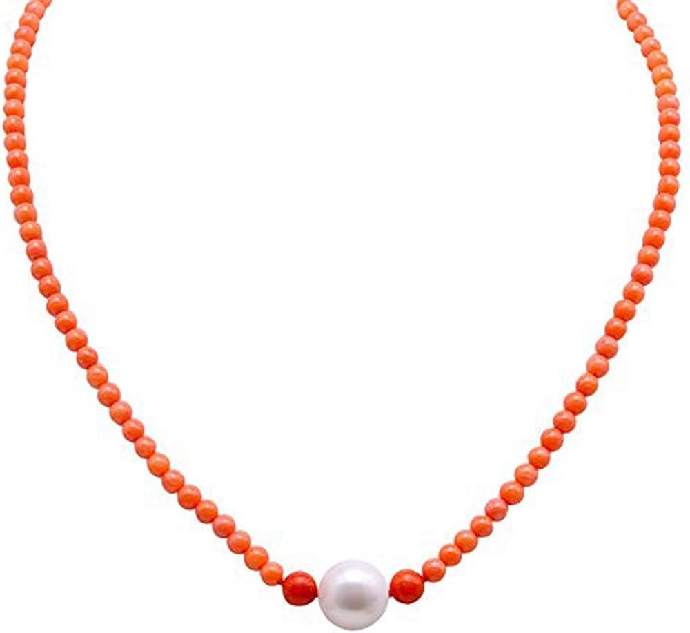 JYX - Collar de cuentas de coral de 3,5 a 5,0 mm, redondo, con perlas blancas, 45 cm, AAA, presentado en una bonita bolsa de regalo de joyería