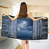 Nature,Bath Towel,Thunder Bolt at Night from Window in A Seaside House Forces of Nature Theme Print,Customized Bath Towels,Blue Grey Size: W 19.5'' x L 39.5''