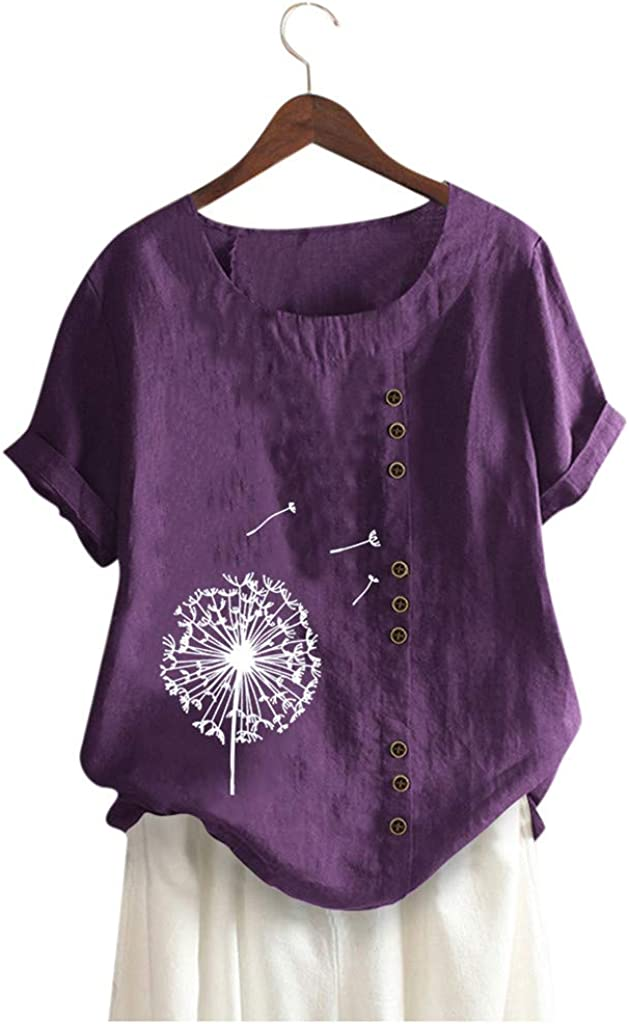 haoricu Womens Cotton Linen Blouse Top Summer Short Sleeve T Shirt Dandelion Print Casual Tee Top