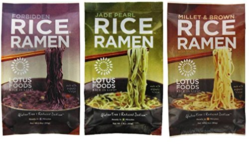 Lotus Foods Gluten Free Rice Vegan Ramen & Miso Soup 3 Flavor 6 Bag Variety Bundle: (2) Millet & Brown Rice Ramen, (2) Forbidden Rice Ramen, and (2) Jade Pearl Rice Ramen, 2.8 Oz Ea (6 Tot) (Rice Noodle Ramen compare prices)