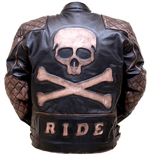 Skull Rider Distressed Leather Jacket - Jackets Racing Sr
